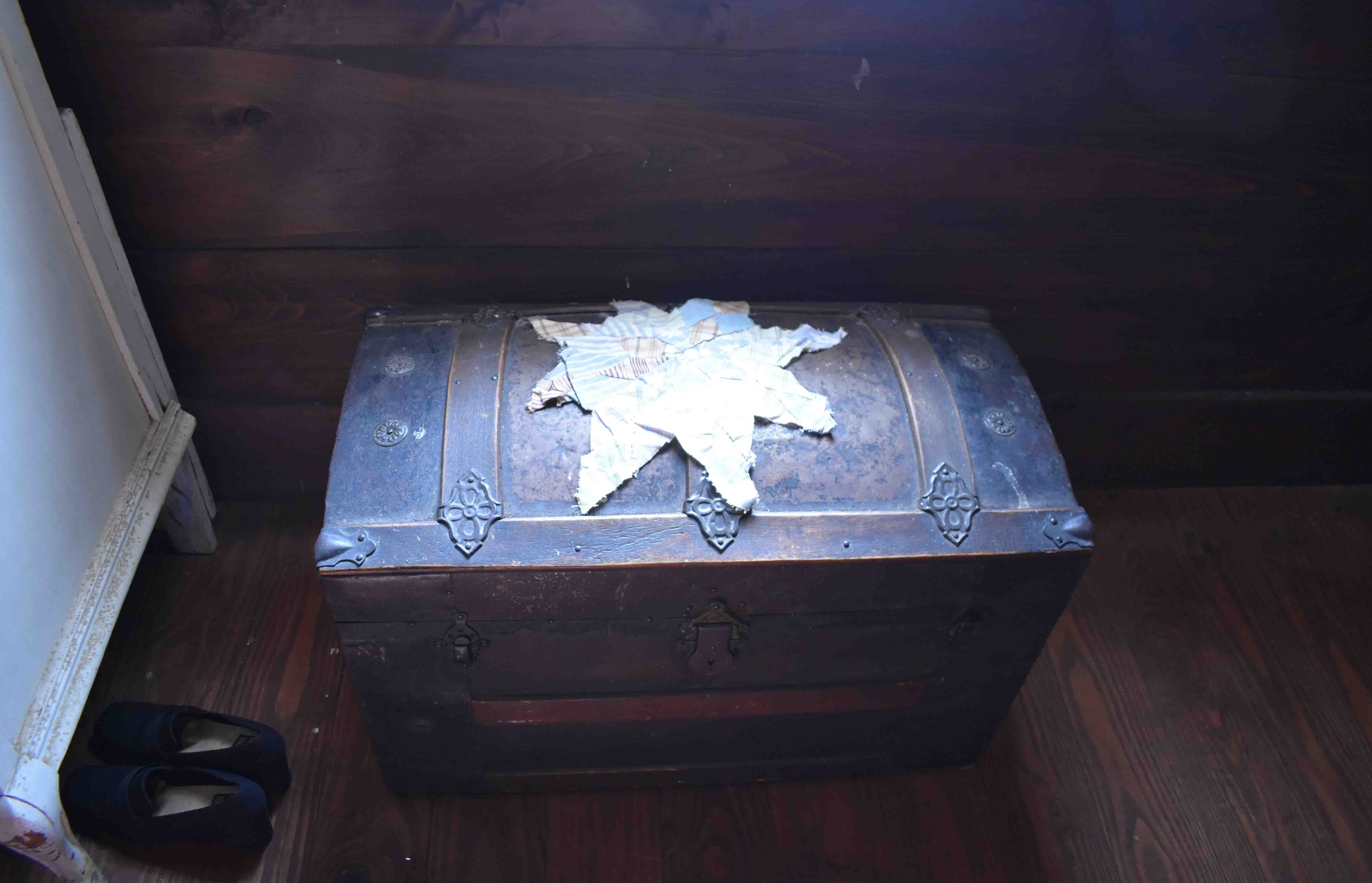 Antique Chest with Quilt Remnat in John H. Johnson Childhood Home