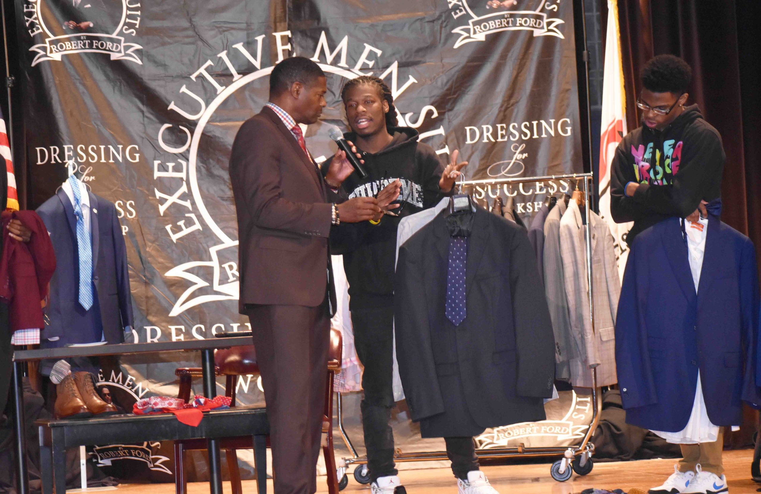 Philander Smith College student, Delonta Osborne explains the interview suit he created