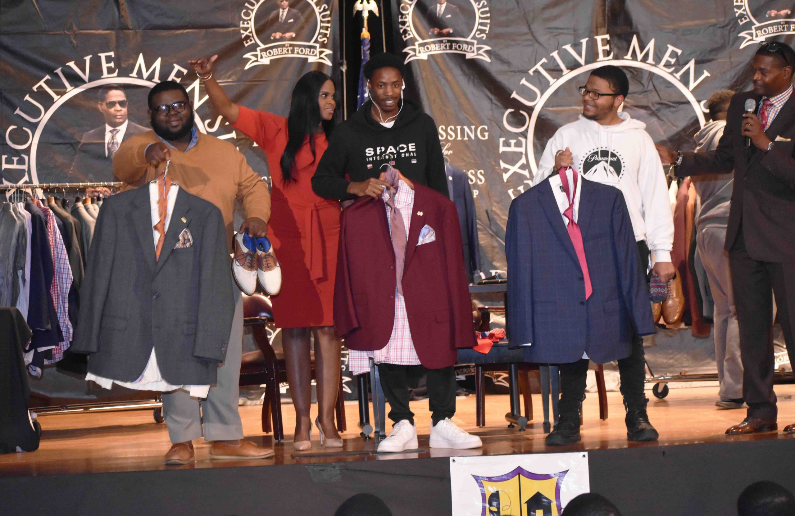 Philander Smith College students display the interview suits they created