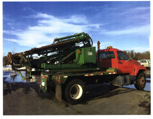GRT Utilicorp Drop Hammer Guardrail Post Pounder Truck on GMC Chassis with Auger attachment
