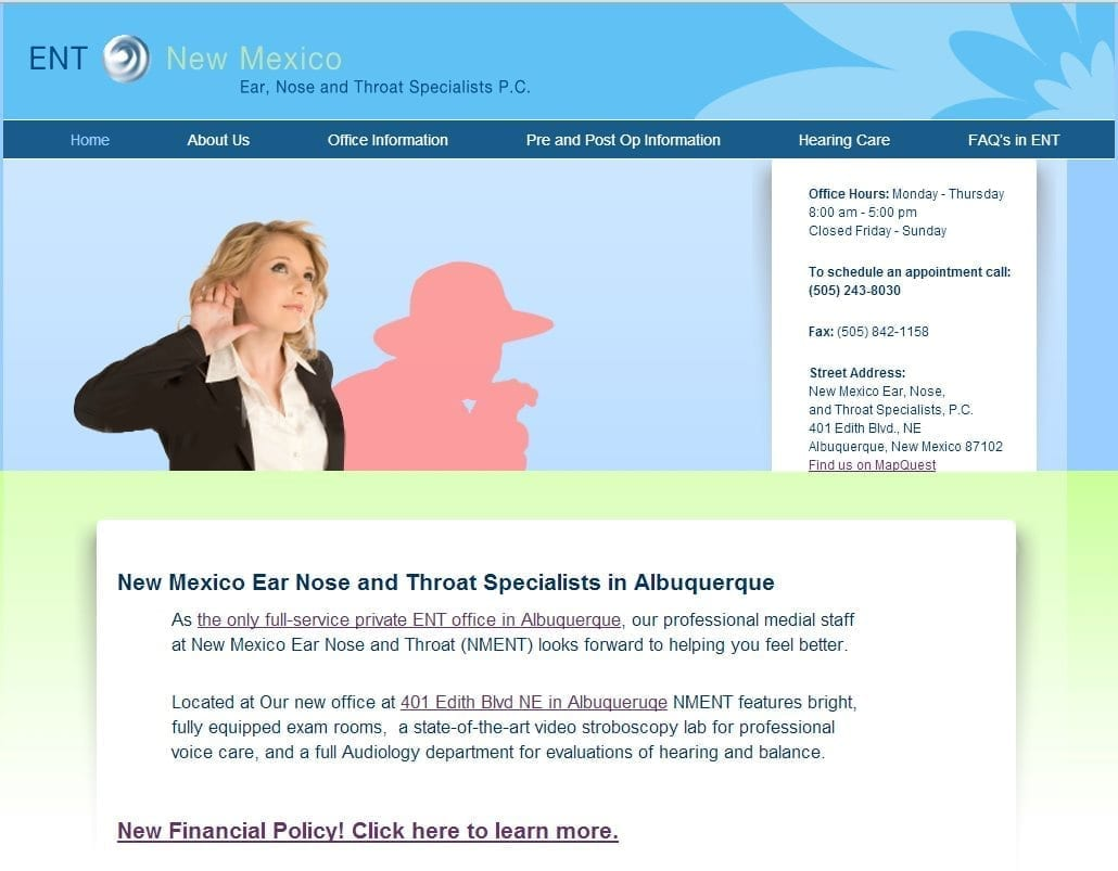 Ear Nose & Throat Doctor Website