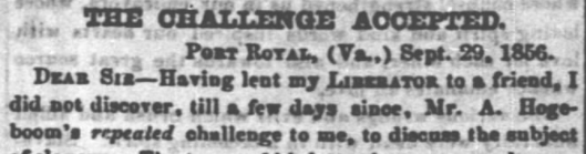 The Challenge Accepted- George Fitzhugh, 10/10/1856
