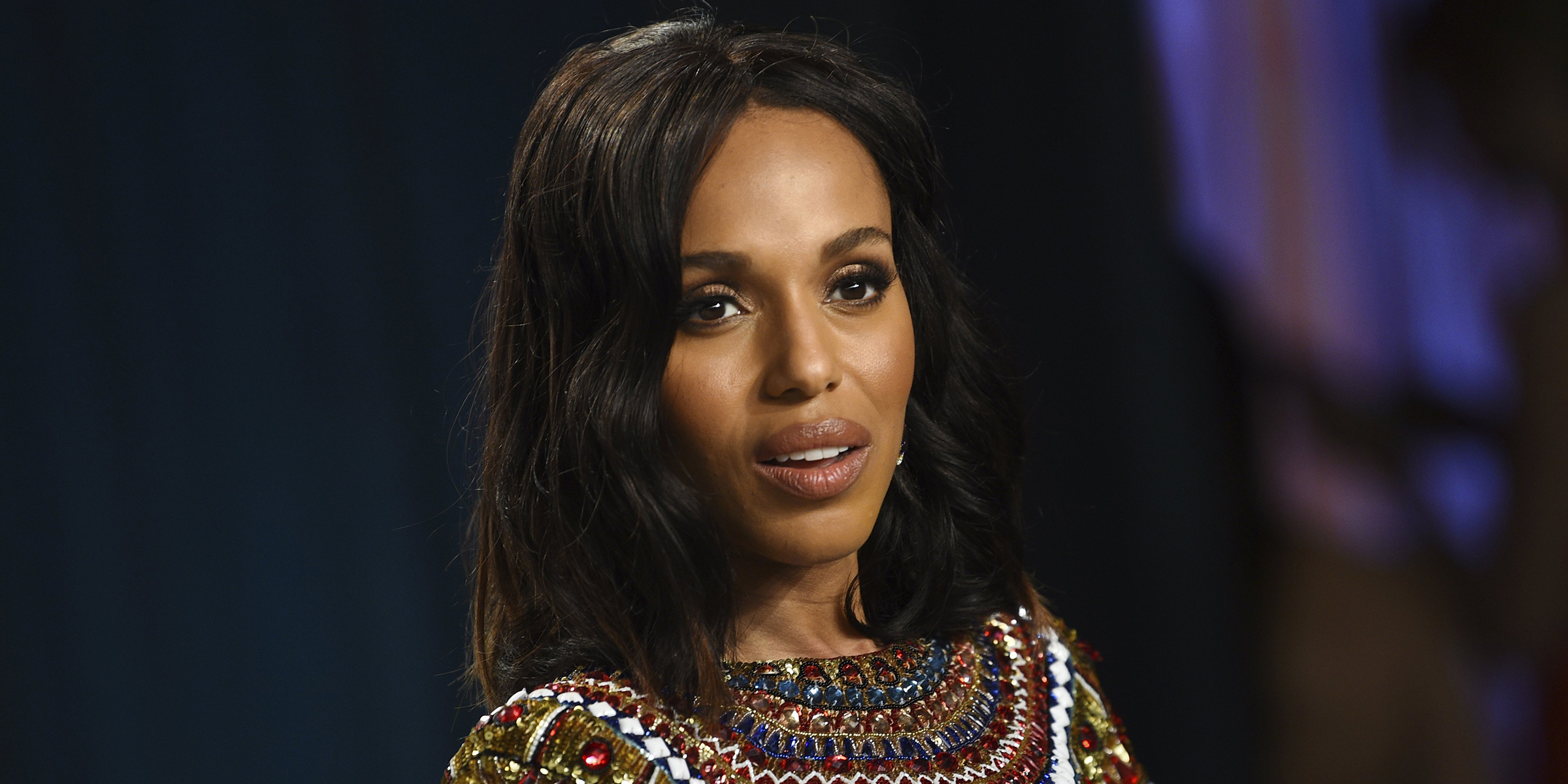 Kerry Washington arrives at the Vanity Fair Oscar Party on Sunday, Feb. 9, 2020, in Beverly Hills, Calif. (Photo by Evan Agostini/Invision/AP)