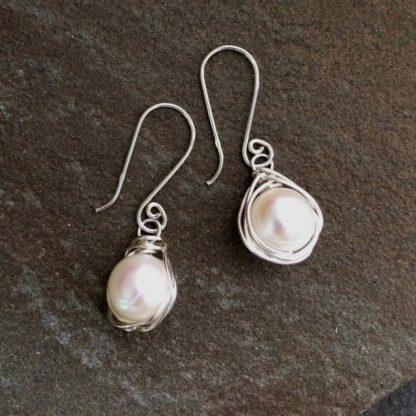 Pearl Nest Earrings by AnneMade Jewelry