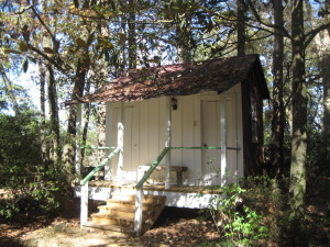 Rosemont Plantation restrooms at a historic property. No ramp, but the toilet stalls had handrails. Go figure?, Photo by Susan P. Berry