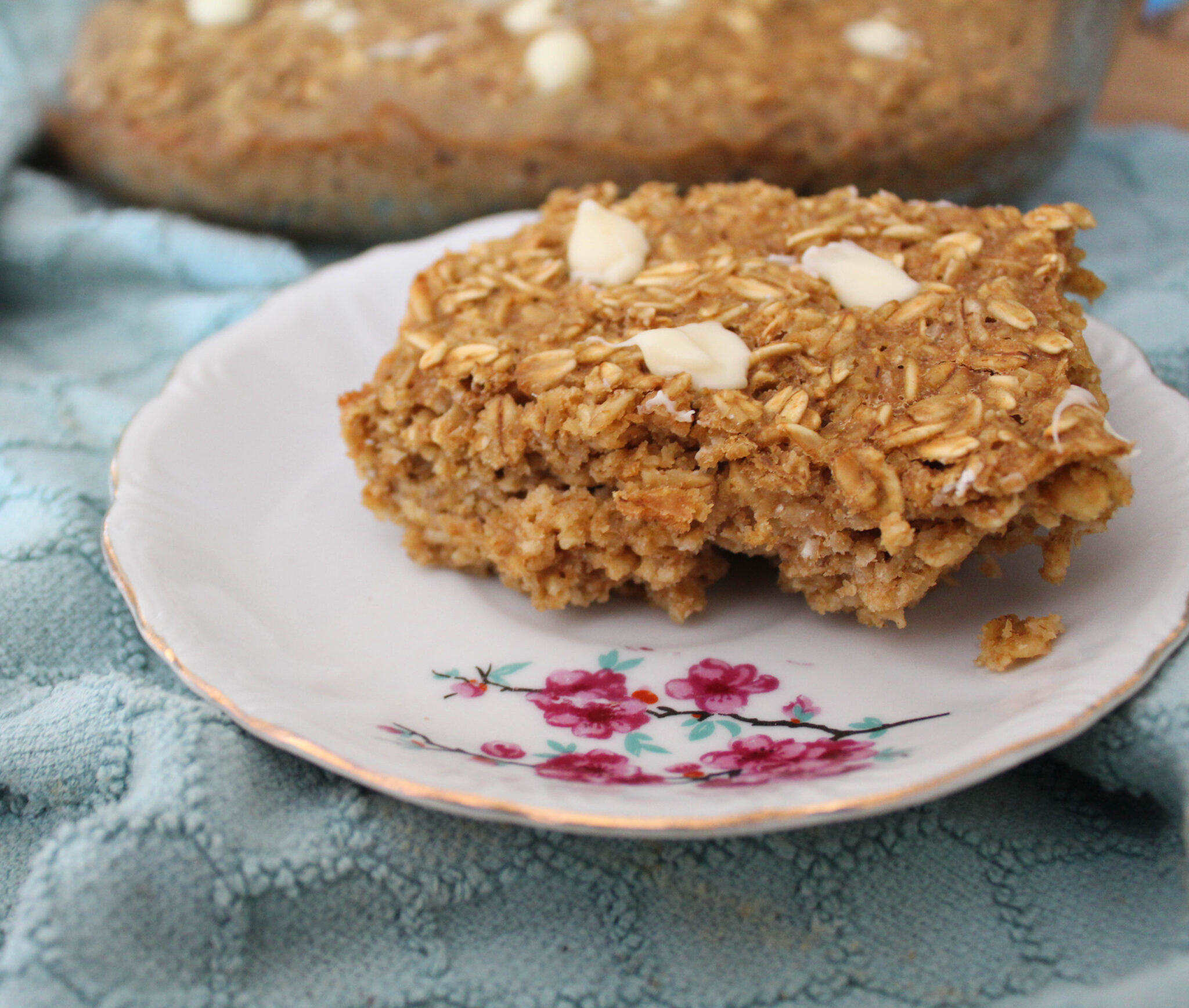 """This Peanut Butter Chocolate Chip Baked Oatmeal is one of my family's favorite ways to jazz up a staple. It's a Trim Healthy Mama """"E"""" and sugar-free."""