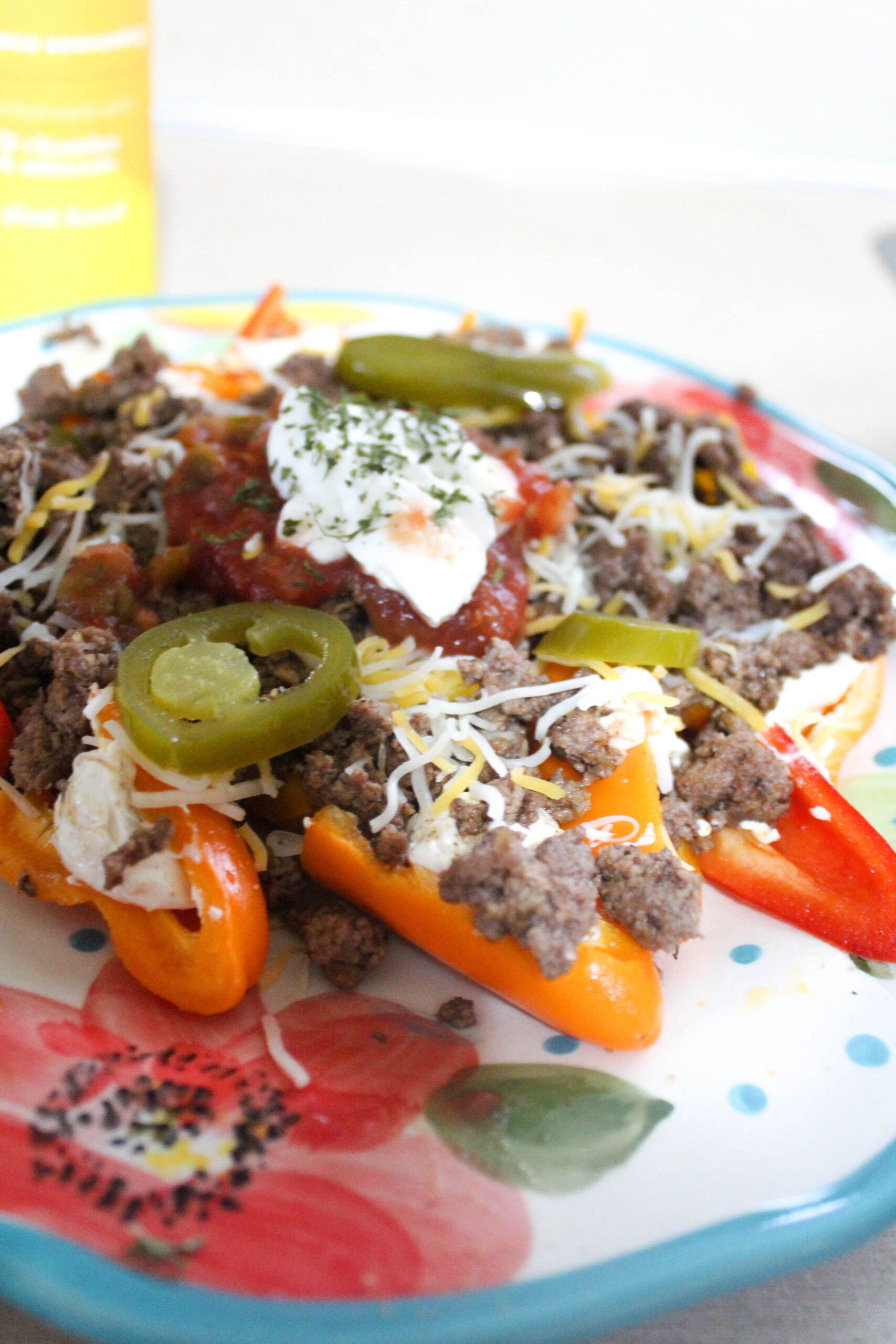 Say yes to nachos and no to carbs without losing the crunch factor! Try my Keto Bell Pepper Nachos. They're creamy, filling, and delish!