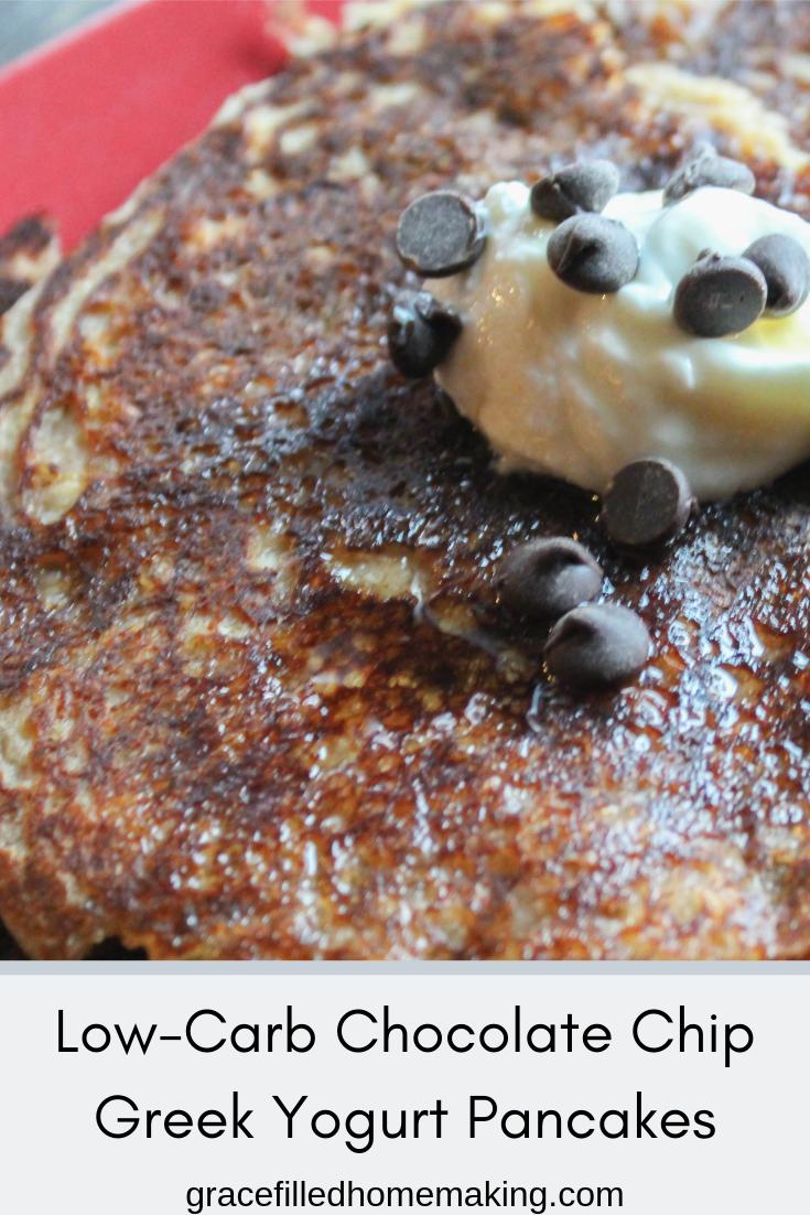 Low-carb, sugar-free chocolate chip greek yogurt pancakes!