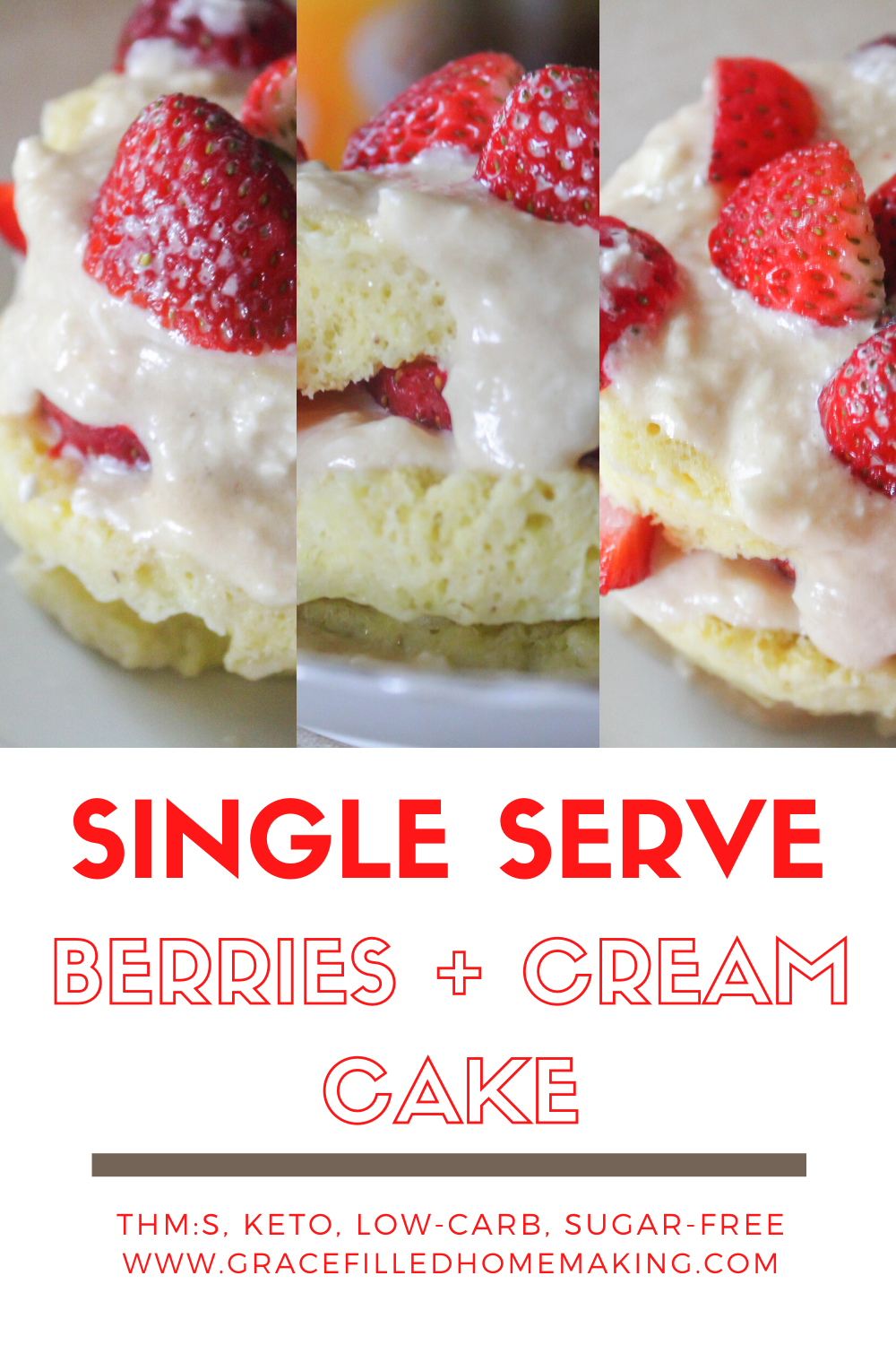 My single serve berries and cream cake is a great summer dessert for one! A spongy cake topped by a cream cheese icing and fresh berries. Yum!