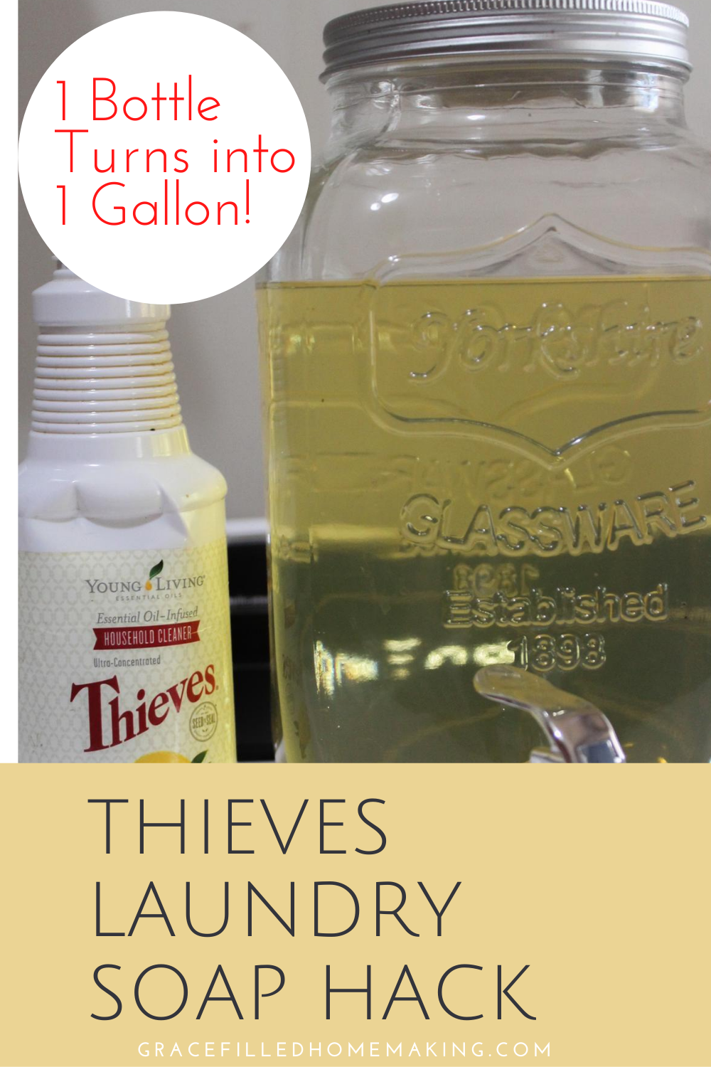 Want non-toxic laundry soap at a super low price? Check out this Thieves Laundry Soap Hack! It takes one bottle and turns it into one gallon!