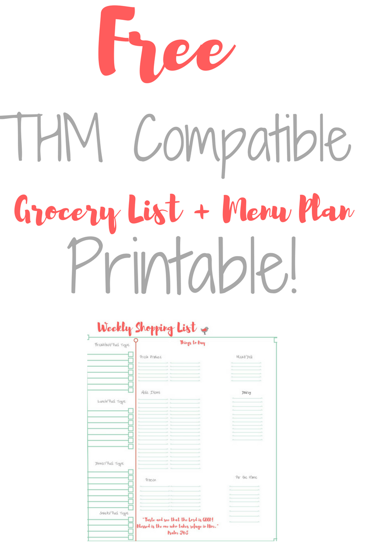 Free menu plan printable