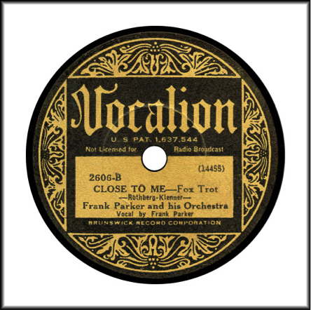 "Record Label: 1925-1935 Black and Gold scroll. Note ""Brunswick Record Corporation"" at the bottom."