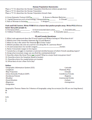 World Geography First Quarter review page 3