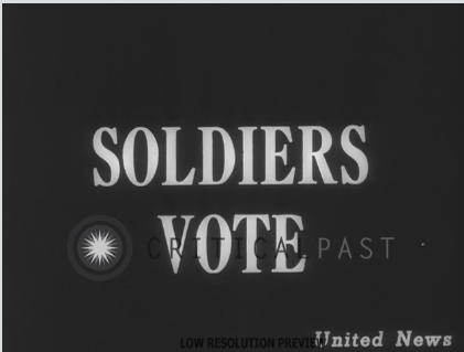 U.S. soldiers receive ballots on a battlefront in the European Theater