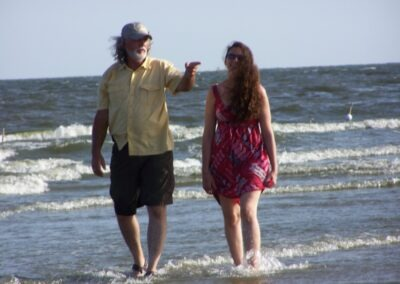 Craig Leonard Sr enjoying a stroll with his daughter in Grand Isle