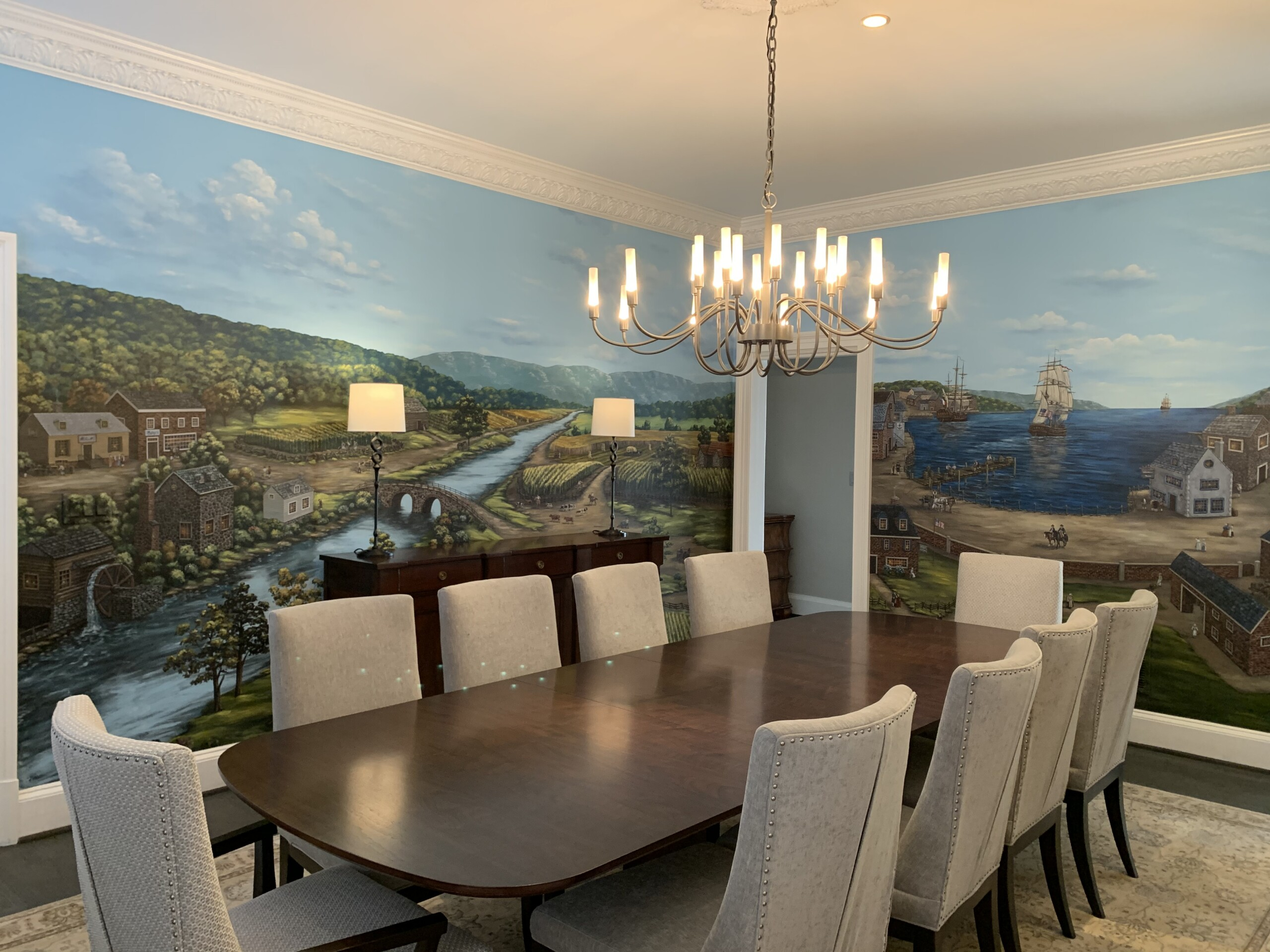 Colonial Mural by Tom Taylor of Mural Art LLC. Hand-Painted in a dining room.