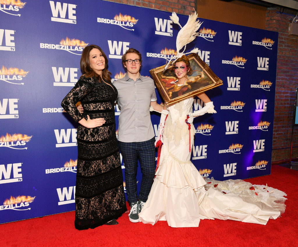 Host Michelle Collins, Winning Designer Beck Jones and model Jillian attends WEtv's premiere fashion event celebrating the return of 'Bridezillas' on March 13, 2019 at Angel Orensanz Foundation in New York City. (Photo by Dia Dipasupil/Getty Images for WEtv)