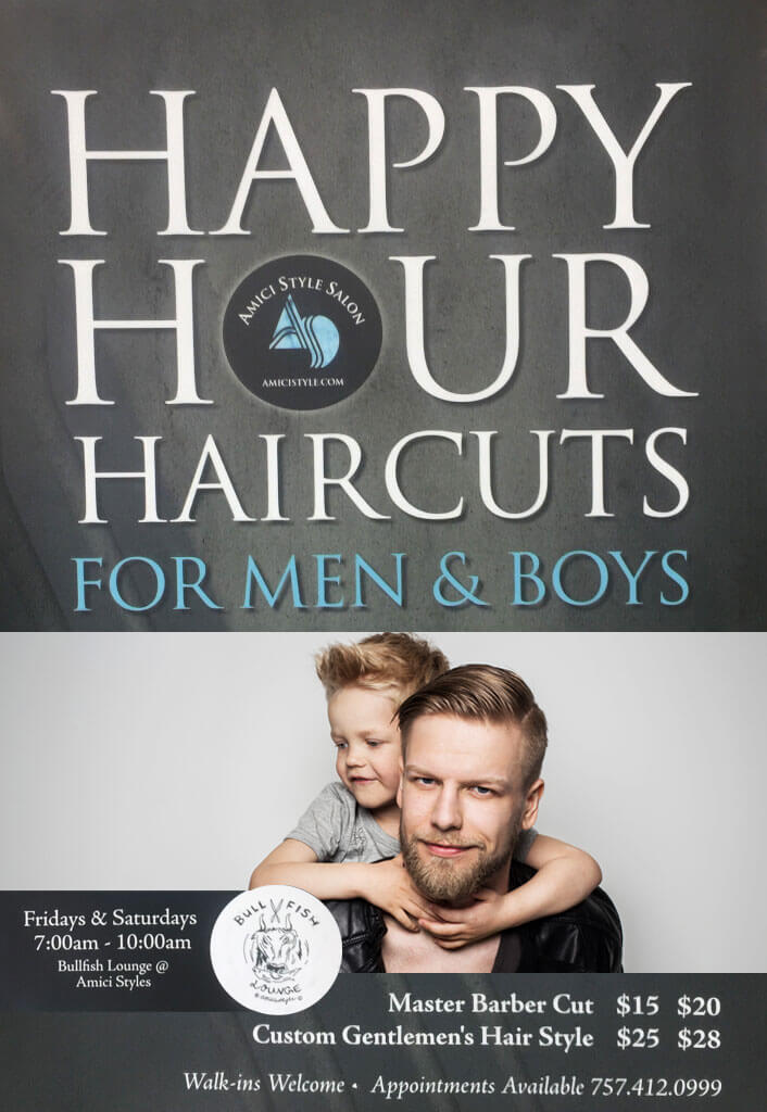 Happy Hour Haircuts for Men & Boys