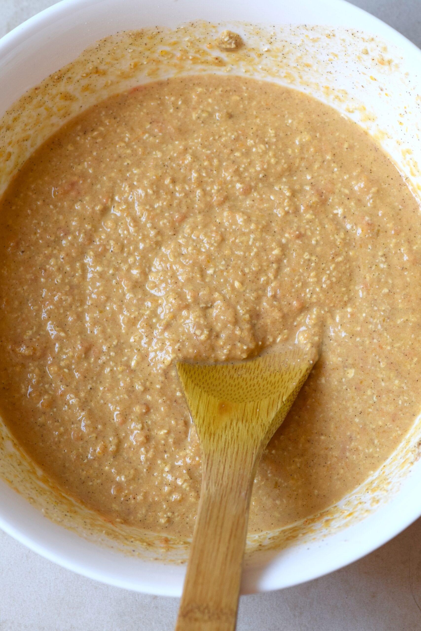 Pancake batter in a white mixing bowl