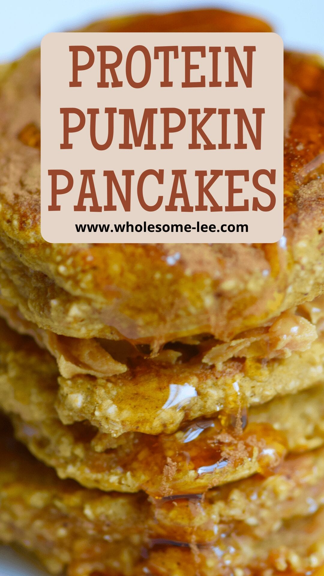 Stack of protein pumpkin pancakes with syrup on