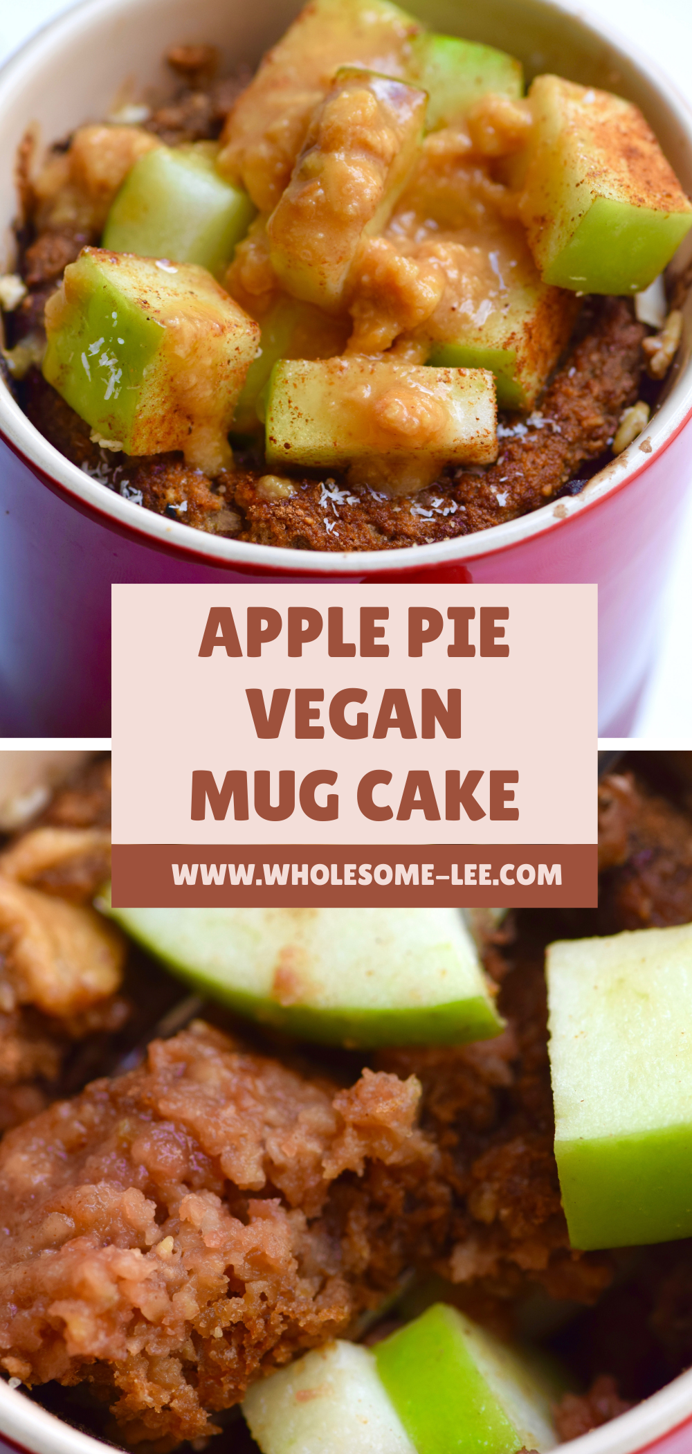 Apple pie vegan mug cake topped with apples and caramel sauce