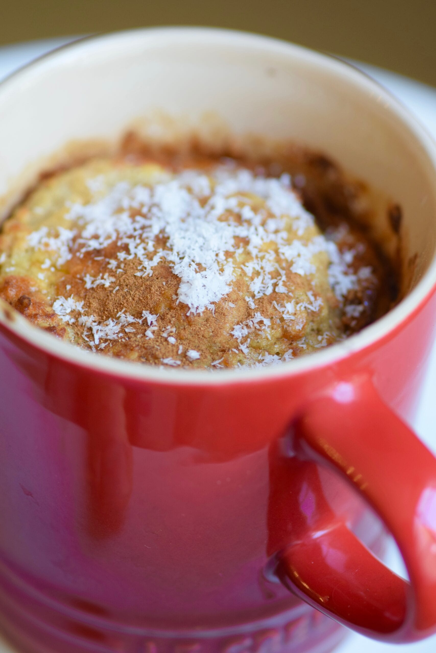 Breakfast banana muffin mug cake with coconut