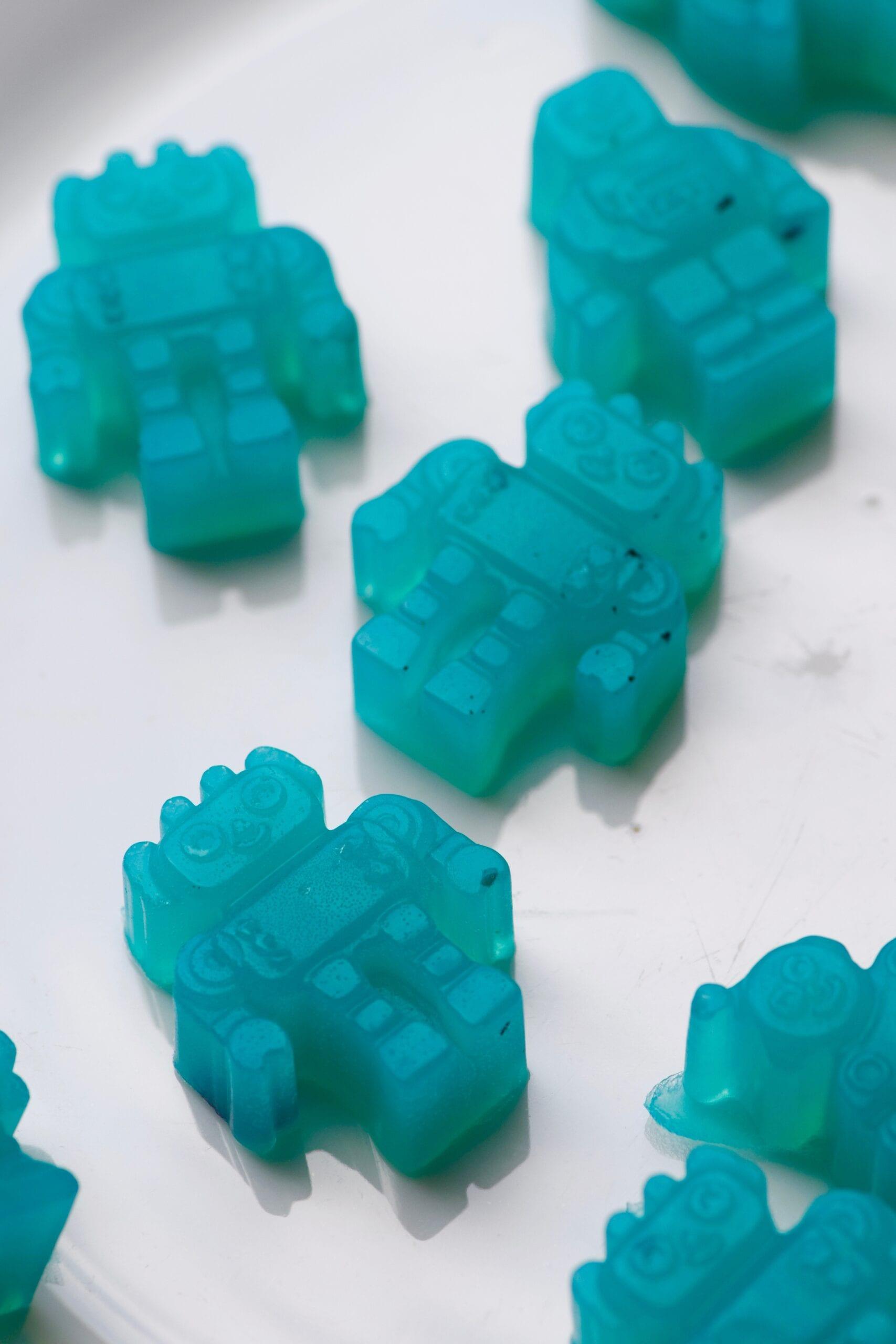 Blueberry vegan gummies in robot shapes