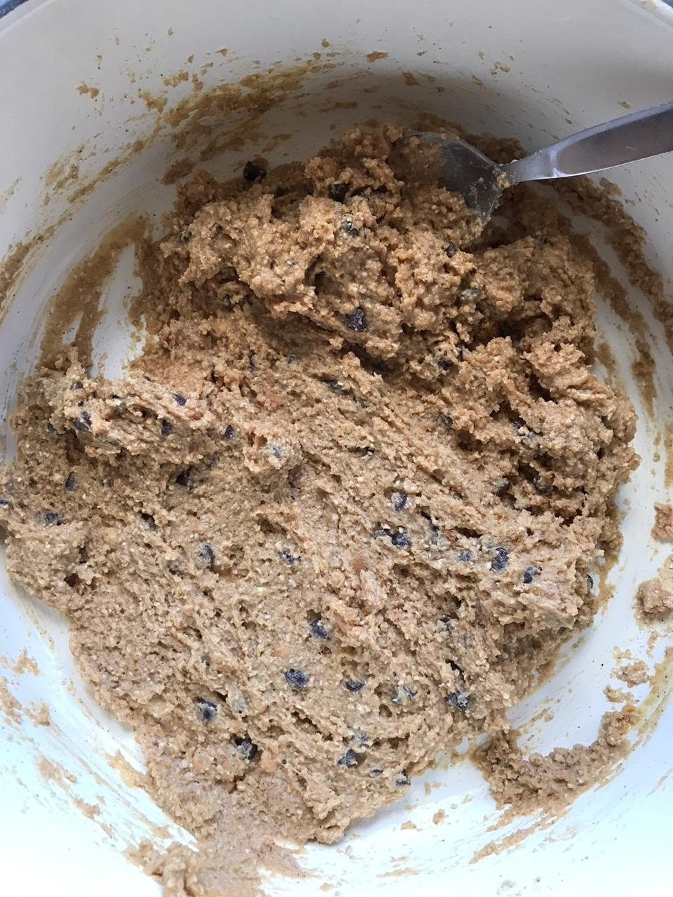 Mixing healthy cookie cereal ingredients