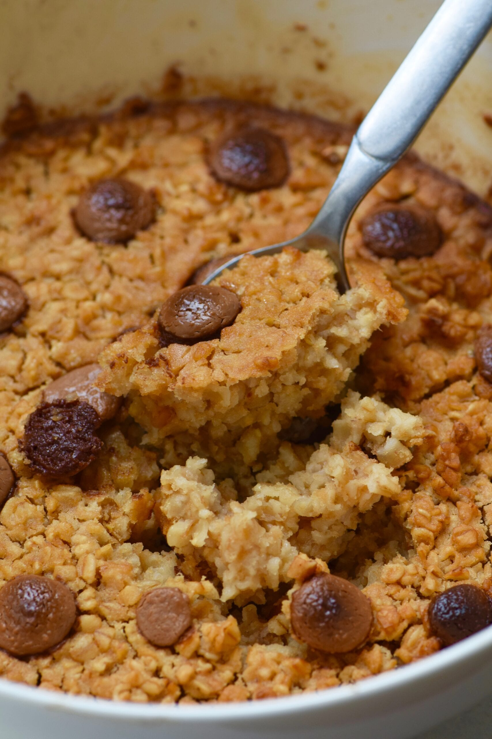 Spoon scooping chocolate chip baked oatmeal
