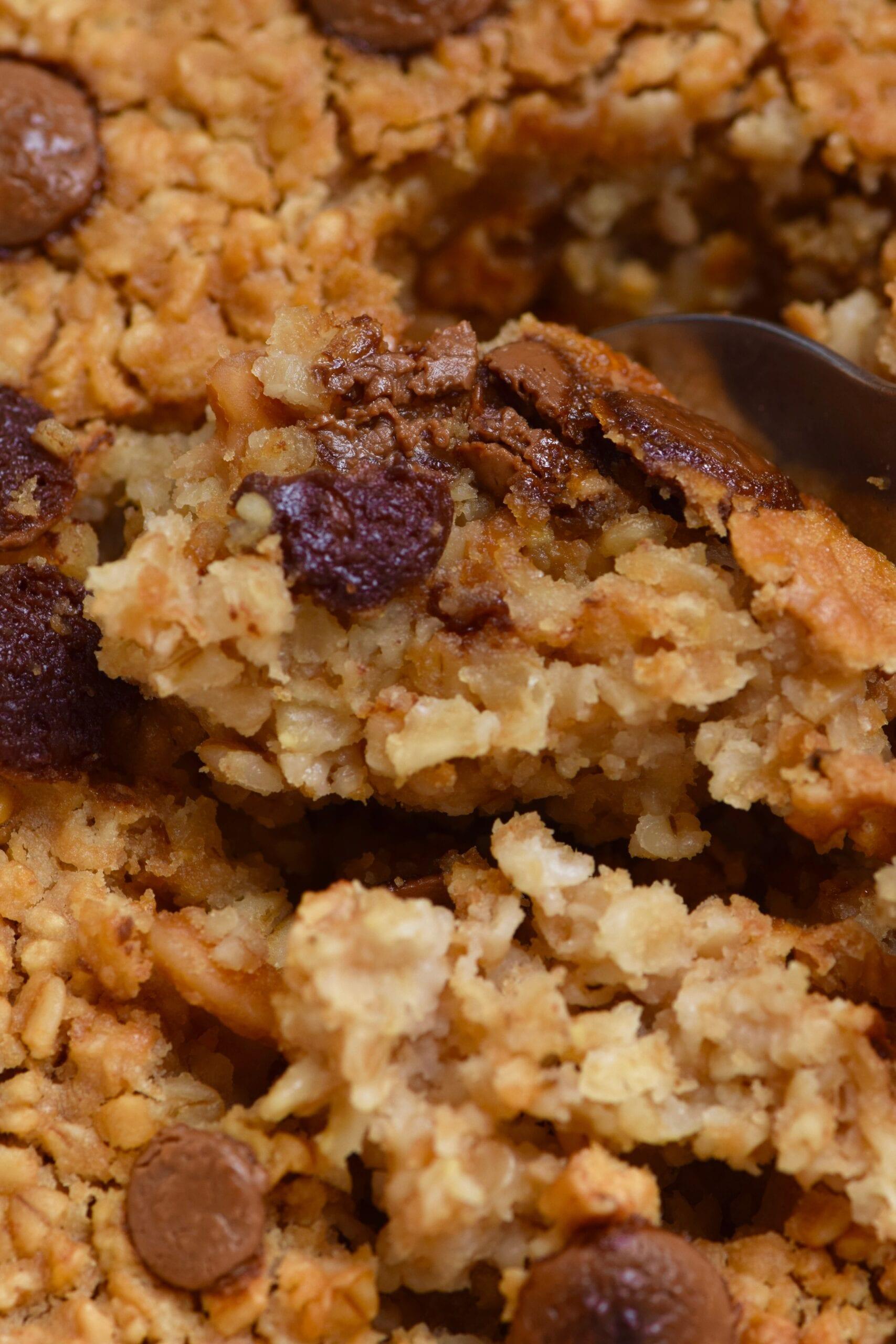 Chocolate chunk baked oatmeal closeup
