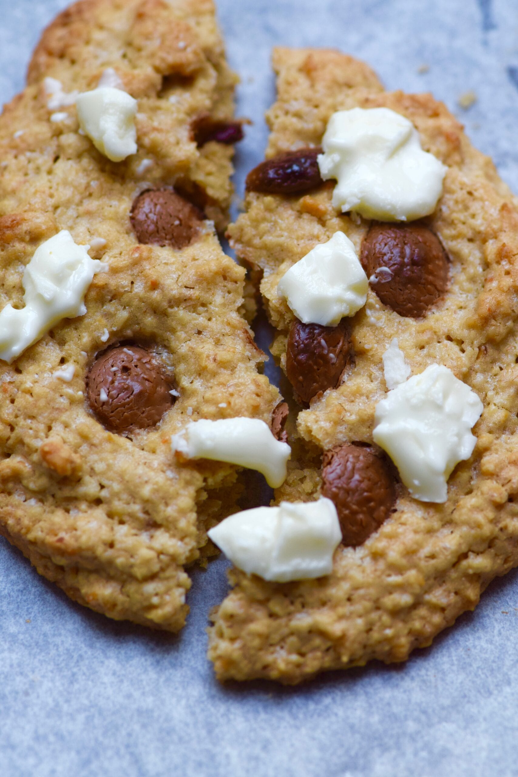 Milk and white chocolate chip single serving oatmeal cookie