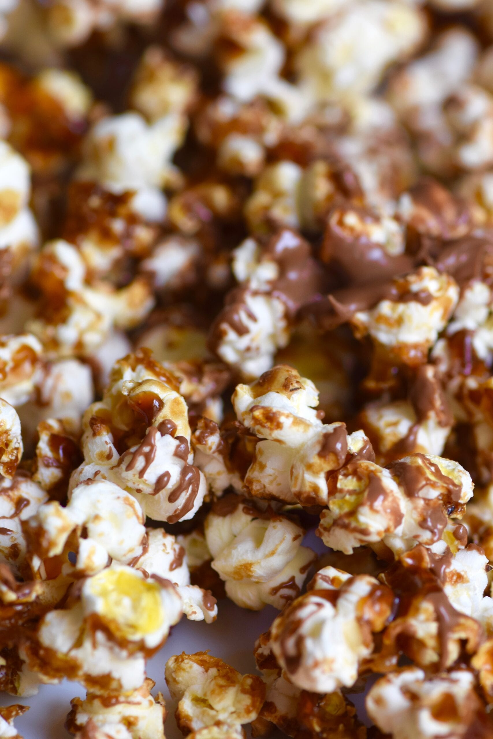 Twix chocolate caramel drizzled popcorn