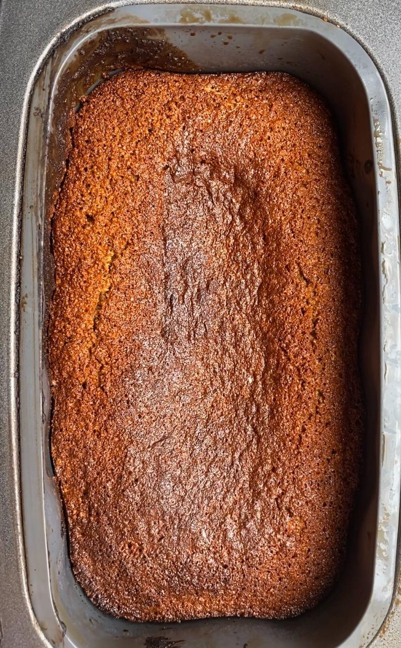 baking the gingerbread loaf