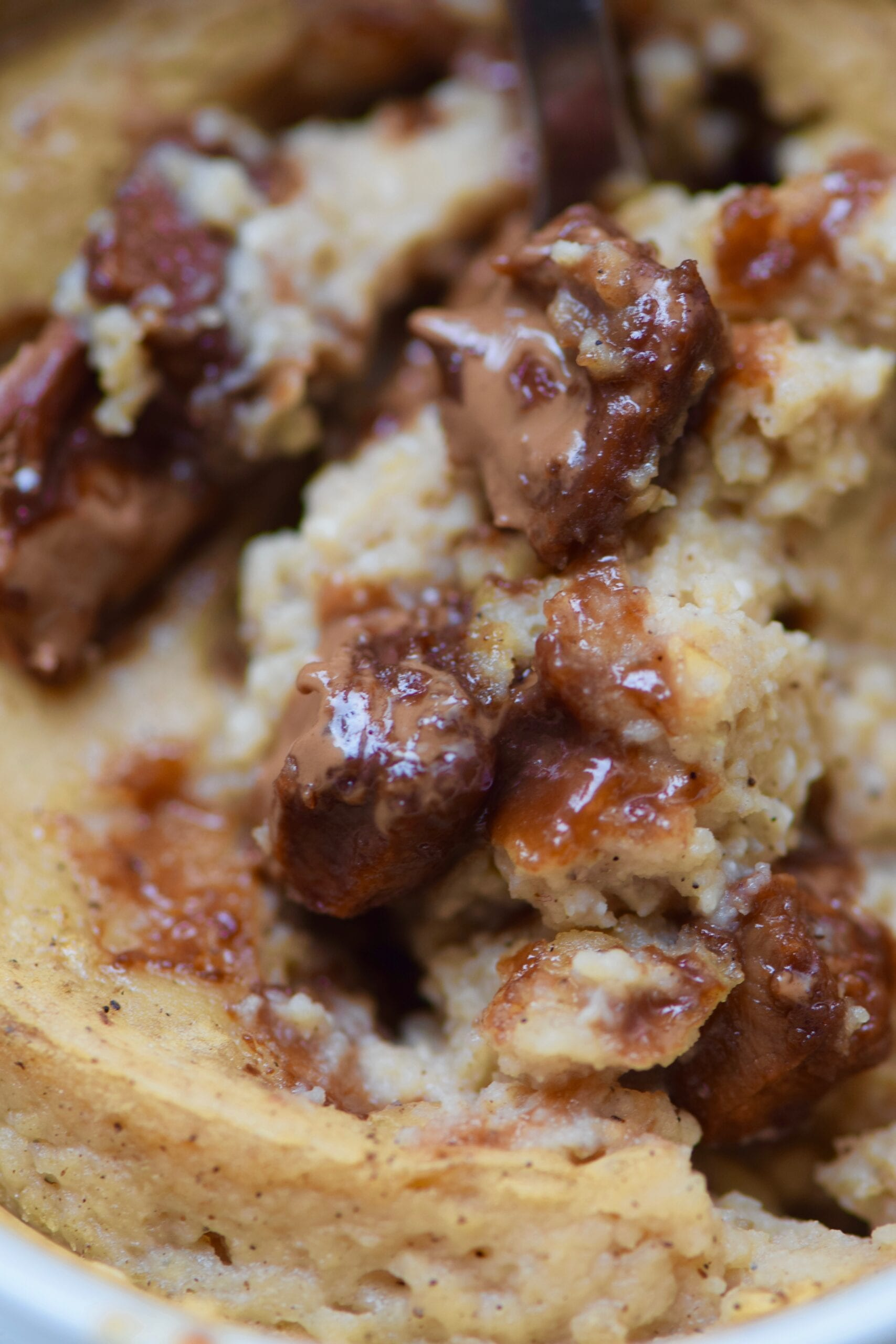 Chocolate chip cookie dough protein mug cake