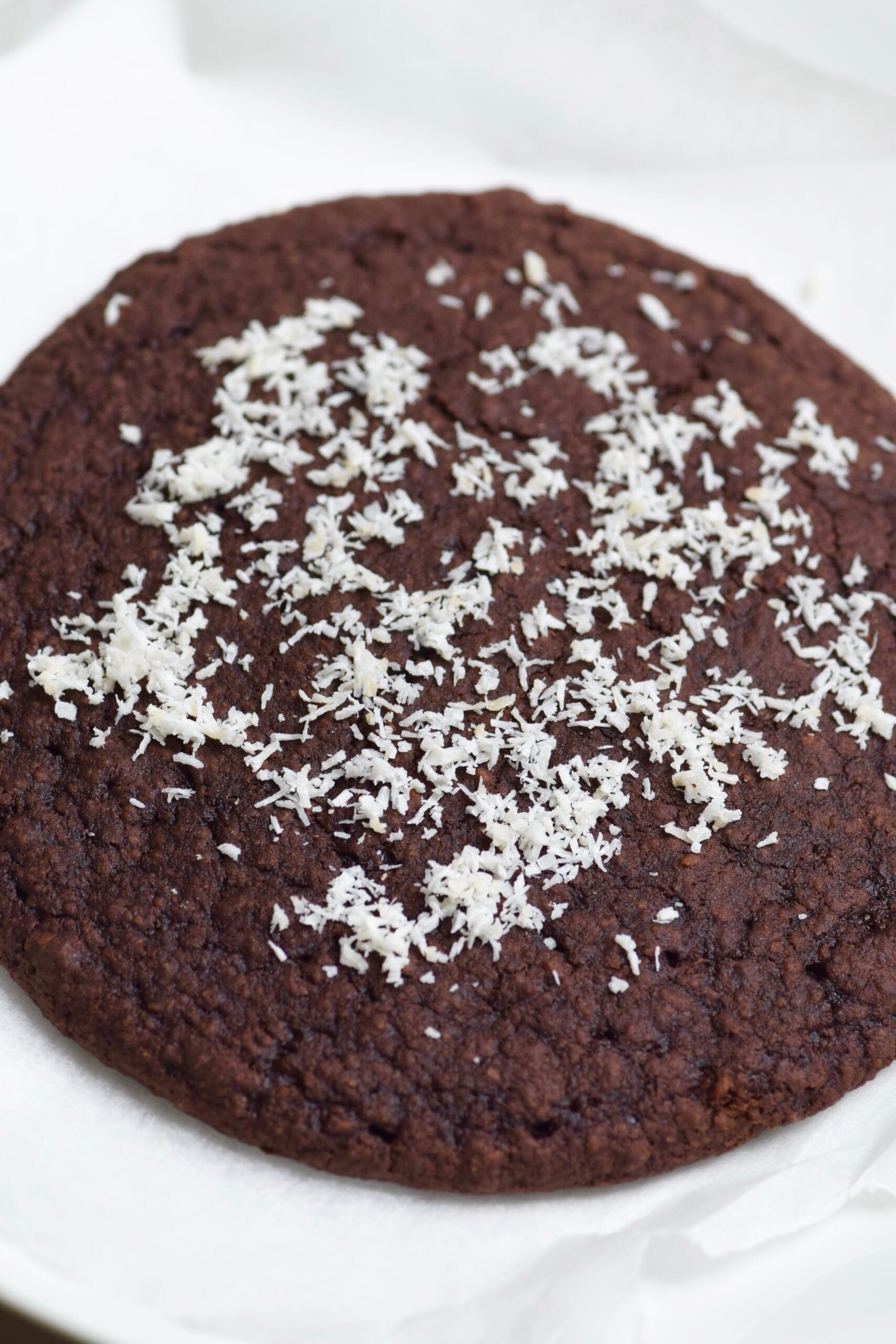 Coconut dark chocolate single serving brownie cookie