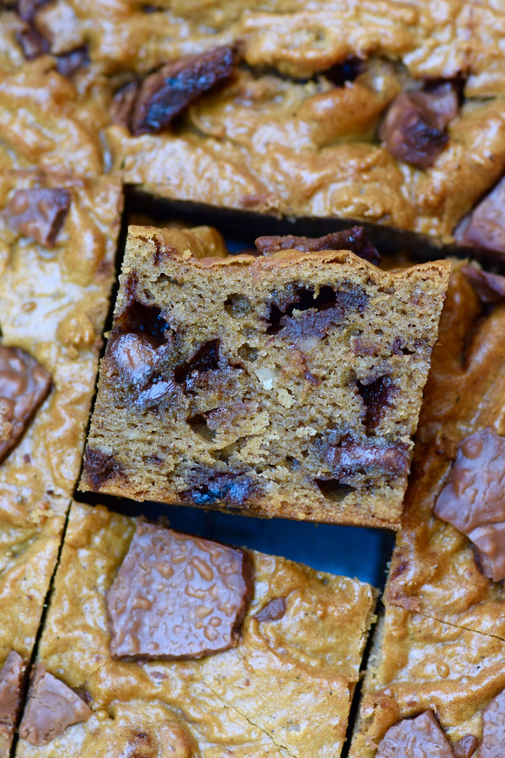 Low Carb Protein Cookie Dough Bread squares sliced up