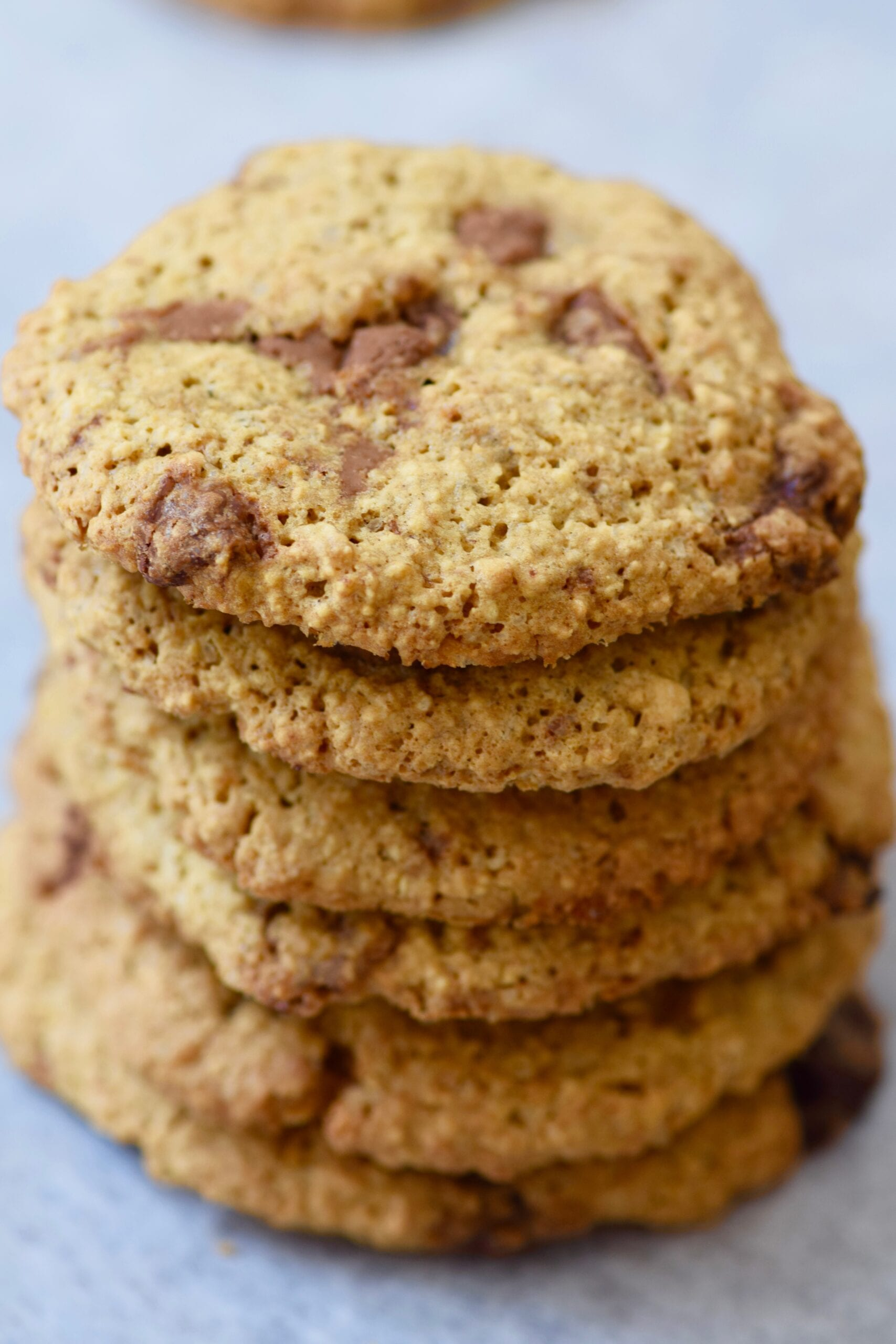 The best chocolate chip cookies in a stack