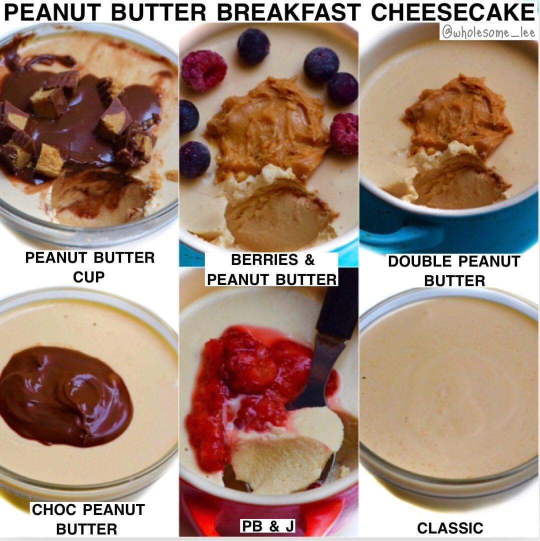 No Bake Peanut Butter Breakfast Cheesecake
