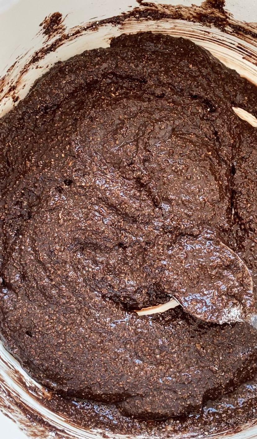 mixing brownie cookie mixture