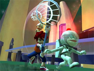 Ape Escape 2 gameplay image catching a monkey!