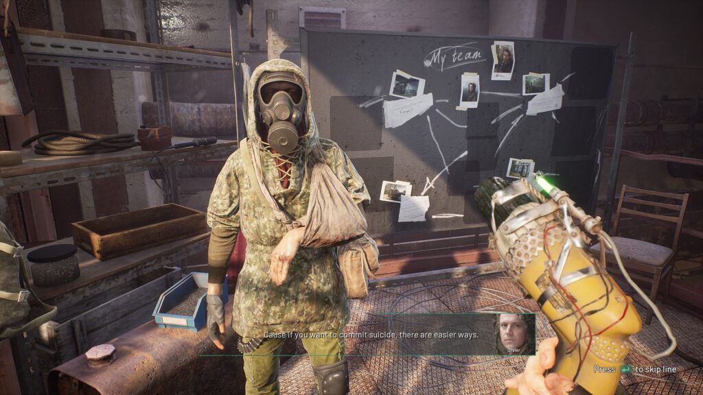 Chernobylite gameplay image of character and gear
