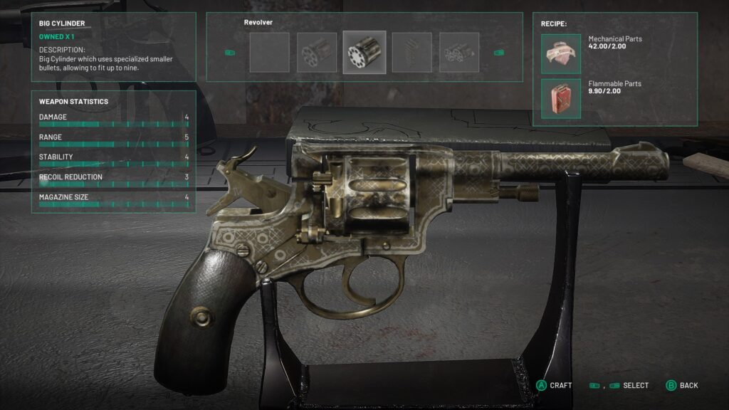 Gameplay image of weapon stats