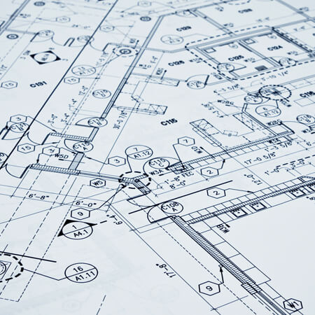 Close up on building floor plan