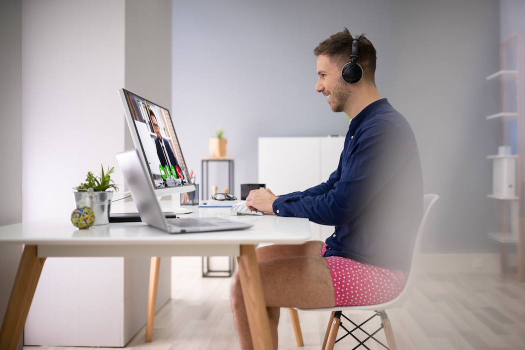 Man video conferencing in his underwear | CTR Payroll Services