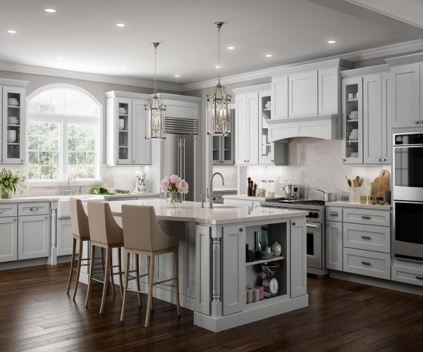 Kitchen with white cabinets and an island