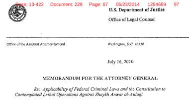 Barron Memorandum - authorization of drone strikes on Americans