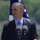 President Obama delivers the commencement speech at the Coast Guard Academy graduation May 2015.