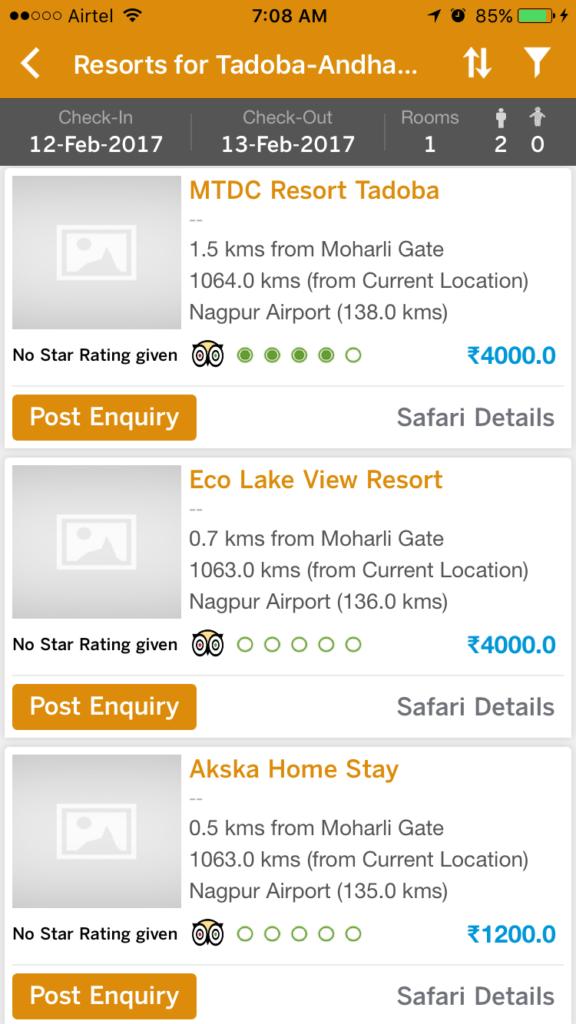 list of tadoba resorts