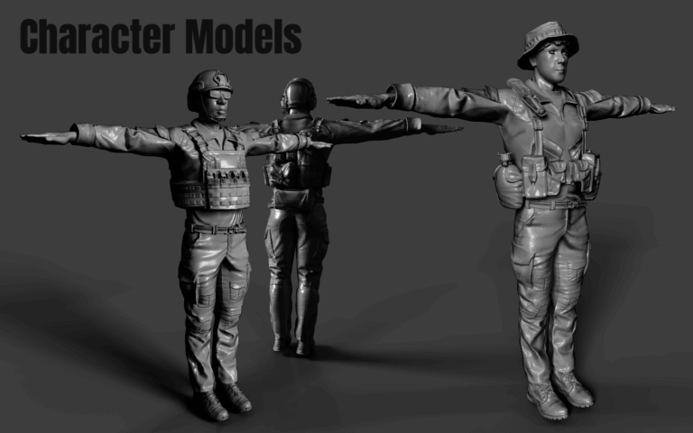 Untextured game models for HHour