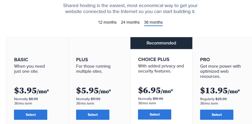 bluehost packages